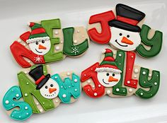 Snow Words by SweetSugarBelle, NOEL, JOY, SNOW, JOLLY decorated cookies