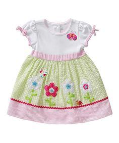 Look at this #zulilyfind! Pink Floral Appliqué Babydoll Dress - Infant, Toddler & Girls by Youngland #zulilyfinds