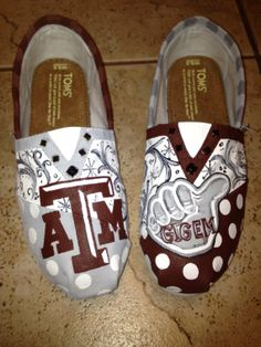 Texas A University  hand painted TOMS by solespirit on Etsy, $110.00