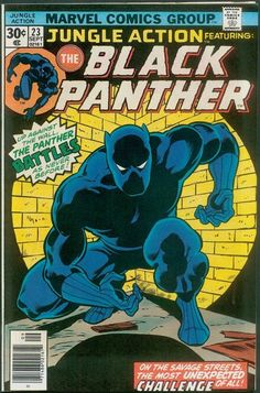 The Black Panther (T'Challa) is a fictional superhero that appears in publications by Marvel Comics. Created by writer-editor Stan Lee and penciller-co-plotter Jack Kirby, he first appeared in Fantastic Four (July Marvel Comic Character, Marvel Comic Books, Comic Book Characters, Comic Book Heroes, Comic Books Art, Comic Art, Black Characters, Marvel Characters, Book Art