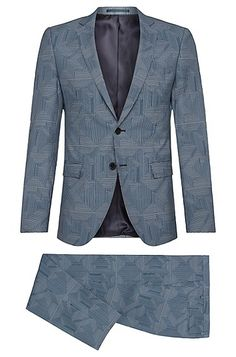 Patterned extra slim-fit suit in pure new wool: 'Rocco/Wyatt' Patterned extra…