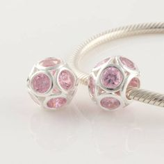 Pandora 925 Silver beads Crystal pink Charms XS054B
