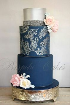 navy and silver Wedding Cake Beautiful Cake Designs, Gorgeous Cakes, Pretty Cakes, Cute Cakes, Amazing Wedding Cakes, Amazing Cakes, Wedding Cake Inspiration, Elegant Cakes, Occasion Cakes