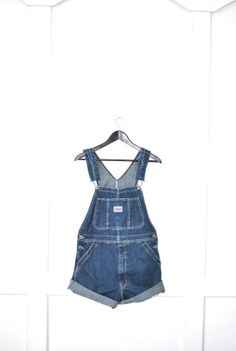 early 90s overall denim shorts / dark wash by onefortynine on Etsy, $54.00