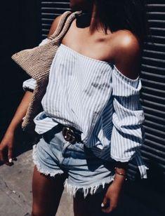 off shoulder stripe shirt + one teaspoon shorts + gucci belt + straw bag | summer fashion 2018 | outfit ideas