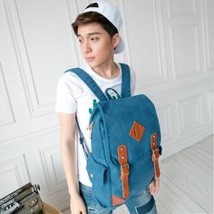 Preppy Style Square Canvas PC Bags/Outside Bags for Men