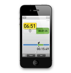MiCoach Mobile App for Iphone.  It's really a decent training app.  I am using it to train for a 1/2 marathon currently.  After an assessment run, the app: determines your training zones; determines a training plan based on your choice of factors; let's you listen to a playlist while running; maps your run and monitors your pace via GPS, can be linked to a Heart Rate Monitor to track your heart rate during the run, and coaches you to speed up, slow down or maintain, as appropriate.