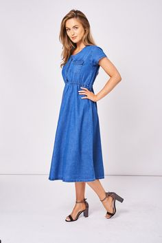 Denim Dress With Short Sleeve UK