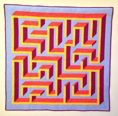 Check out our queen quilt pattern selection for the very best in unique or custom, handmade pieces from our sewing & needlecraft shops. Labrynth Quilt Pattern, Quilting Projects, Sewing Projects, Sewing Ideas, Maze Drawing, Labyrinth Walk, 3d Maze, Optical Illusion Quilts, Optical Illusions