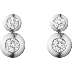GEORG JENSEN Aurora 18ct white gold and diamond drop earrings (14.635 RON) ❤ liked on Polyvore featuring jewelry, earrings, diamond earrings, white gold jewelry, georg jensen jewelry, diamond jewellery and white gold jewellery