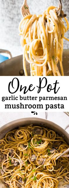 This one pot garlic butter parmesan mushroom pasta is a simple weeknight dinner that's ready in less than 30 minutes with barely any effort! Made with spaghetti, mushrooms, dried herbs, garlic, butter and cheese. Quick to prep and on the table in less than 30 minutes, it is sure to please the entire family. Serve it as-is or add some chicken and a side salad with it. This meal works SO great - an absolute go to recipe! via @savorynothing