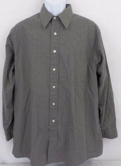 Van Heusen Plaid Broadcloth Cotton Blend Long Sleeve Brown Size 16.5 32/33 Mens #VanHeusen #ButtonFront