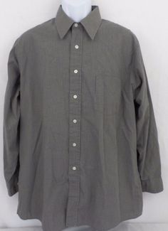 Van Heusen Plaid Broadcloth Cotton Blend Long Sleeve Brown Size 16.5 32/33 Mens #VanHeusen #ButtonFront
