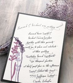 Lavender In Love - Modern Wedding Invitations, Rustic Wedding Invitations, Purple, Lilac, Gray Wedding Invitation.