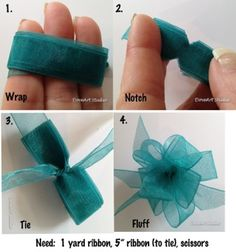 BOW INSTRUCTIONS:  Wrap 1 yard of ribbon around 3 fingers evenly cut little notched in the center and wrap a 5″ ribbon around notched area and tie in knot.  separate the looped ends and slightly twist.
