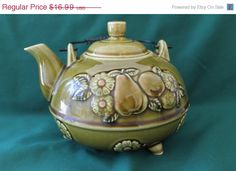July Sale Vintage-retro Japanese ceramic floral fruit three footed teapot with metal handle,glazed teapot,teapot with lid