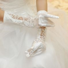 The white satin Pierced Bridal Gloves