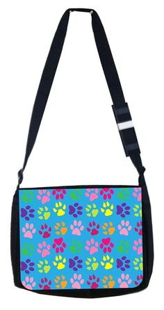 colorful pawprints Rosie Parker Inc. TM Medium Sized Messenger Bag 11.75' x 15.5' and 4.5' x 8.5' Pencil Case SET * Find out more about the great product at the image link. (This is an Amazon Affiliate link and I receive a commission for the sales)