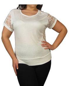 599fashion Plus size fashion round neck top w/side lace detail-id.23062b 599fashion. $5.99