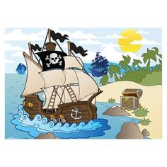 J.P. London Design, Inc. MDXL4152PS Ships Ahoy Pirates Kids Cartoon Peel and Stick Removable Full Wall Mural
