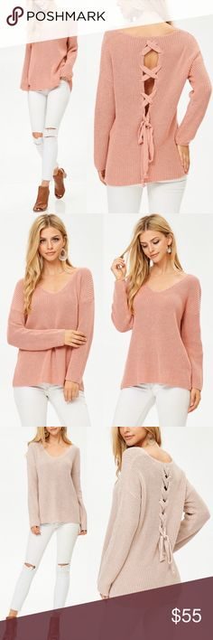 Palermo Lace Up Back Sweater - PEACH Lace up back sweater  AVAILABLE IN PEACH & BEIGE  80% Cotton 20% Polyester  Runs true to size   NO TRADE  PRICE FIRM Bellanblue Sweaters