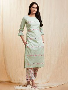 Buy Multicolor Floral Printed Cotton Dress with Mint Green Mulmul Jacket - Set of 2 online at Theloom