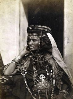 Africa | Portrait of an Ouled Nail woman. Algeria. ca. 1870s | Photo taken by Jean Geiser.
