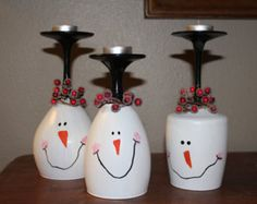 Christmas wine glass candle holder Christmas by DebDebsCrafts