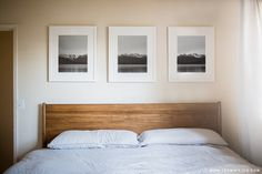 Triptychs are a great way to decorate large wall spaces... we loooove this one in our clean white, Irvine, frame style by @teamwiking