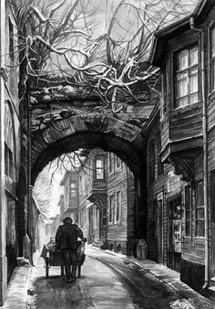 Istanbul Schwarz-Weiß-Fotografien – Berussagroup – Join in the world of pin Pencil Art, Pencil Drawings, Art Drawings, Istanbul, Sketch Video, Art Et Architecture, Art Watercolor, Black And White Painting, Black White