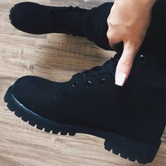 All black timbs Heeled Boots, Bootie Boots, Shoe Boots, Shoes Heels, Ankle Boots, Shoes Sneakers, Sock Shoes, Cute Shoes, Me Too Shoes