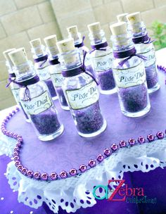 """Tinker Bell Party - Pixie Dust Idea Use """"body glitter"""" for the spa party?!?"""