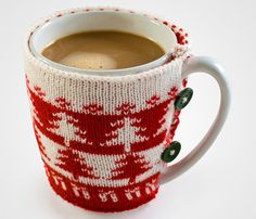 Christmas Jumper Mug--Could knit these in solid colors, too, and would still be cute.