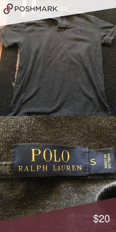 GRAY POLO Perfect condition men's small and has one button. Symbol is purple Polo by Ralph Lauren Shirts Polos