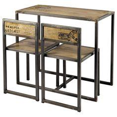 Mesa de comedor alta   2 sillas de mango y metal An. 90cm Manufacture