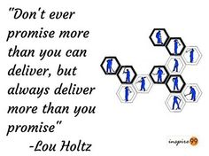 Don't Ever Promise More Than You Can Deliver But Always Deliver More - Lou Holtz