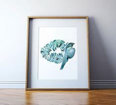 The Cerebellum and Brain Stem in Turquoise - Brain Art Watercolor - Brain Print - Neurology Art - Anatomy Art