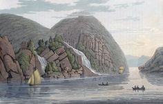 "Haoe Fall (JW Edy plate 57). English: ""Haoe Fall"" Norsk bokmål: «Haoe Foss» Drawing by John William Edy (1760-1820) from his journey along the coast of Norway during the summer of 1800. Published in Boydell's picturesque scenery of Norway in 1820."