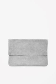 Grey Suede Clutch - minimal bag, chic minimalist style // COS