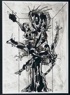 Antonio Saura. Dame dans sa chambre. 1966. Técnica mixta sobre cartón. 89 × 62 cm