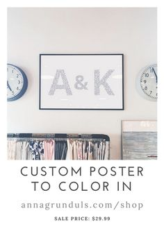 Surprise your beloved one with a unique custom Valentine's gift! Love is amazing an has to be celebrated, so why not spend time together on coloring? This custom initials poster makes a perfect keepsake - each letter is filled with tiny hearts to color in, creating a romantic, but modern wall art.