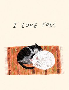 Two kitties is the best kind of kitties.    Cats Card by Becca Stadtlander Illustration - $3.95, via Etsy.