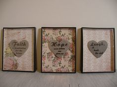 heart shadow boxes made from dollar store shadow box frames and heart plaques
