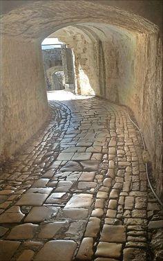 Alley of the Old Fortress of Corfu island, Ionian sea, Greece Macedonia, Albania, Beautiful World, Beautiful Places, Bosnia Y Herzegovina, Montenegro, Corfu Island, Corfu Greece, Brick And Stone