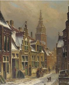 'A Dutch Town On A Sunny Day In Winter' by Oene Romkes De Jongh (1812-1896, Netherlands)