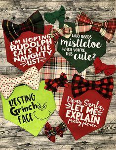 The cutest Christmas Dog Bandanas and bows for your fur baby! Matching mommy headbands and Scrunchies! Christmas Dog, Xmas, Dog Coat Pattern, Puppy Bandana, Dog Salon, Dog Crafts, Pet Tags, Dog Shirt, Dog Quotes