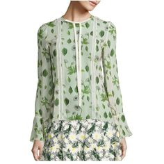 Giambattista Valli Floral Silk Blouse ($1,475) ❤ liked on Polyvore featuring tops, blouses, ivory green, knitwear, vests, ivory blouse, flower print blouse, green blouse, green silk top and ivory top