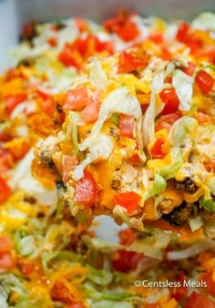 Easy Taco Casserole (Perfect Weeknight Dinner) - CentsLess Meals Mexican Food Recipes, Beef Recipes, Soup Recipes, Cooking Recipes, Mexican Dinners, Salad Recipes, Chicken Recipes, Recipies, Dinner Recipes