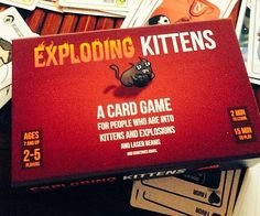 Do you love explosions, kittens, laser beams, and sometimes goats? The Exploding Kittens card game is a cat themed version of Russian Roulette where the objective is to avoid drawing the exploding kitten card and be the last man standing.