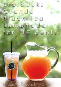 Starbucks black tea lemonade copycat.  I think I could use spenda and diet country time lemonade.